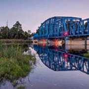 Blue Bridge Over The St. Marys River Kingsland, Georgia Art Print