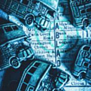 Blue Britain Bus Bill Art Print