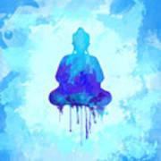 Blue Buddha Watercolor Painting Art Print