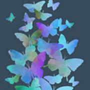 Blue Butterfly Flutter Art Print