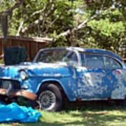 Blue Car On The Bayou Art Print