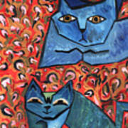 Blue Cats Art Print