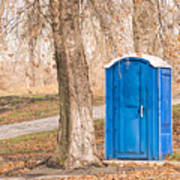 Blue Chemical Toilet In The Park Art Print
