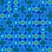 Blue Circles Abstract Art By Sharon Cummings Art Print