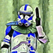 Blue Commander Stormtrooper At Work - Pa Art Print