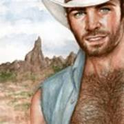 Blue Cowboy Art Print