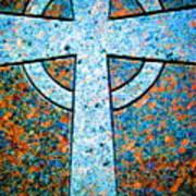 Blue Marbled Cross Art Print