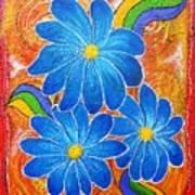 Blue Daisies Gone Wild Art Print