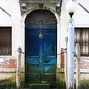 Blue Door on Grand Canal in Venice Art Print