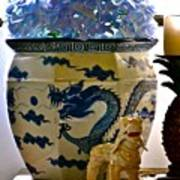 Blue Dragon And Hydrangeas Art Print