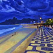 Blue Dusk Ipanema Art Print