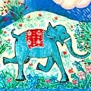 Blue Elephant Facing Right Art Print