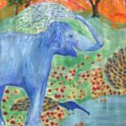 Blue Elephant Squirting Water Art Print