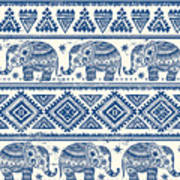 Blue Elephant With Ornaments Design Art Print