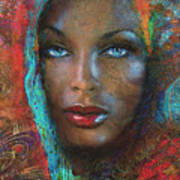Blue Eyes Dark Oriental Art Print