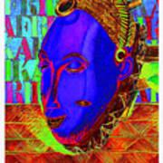 Blue Faced Mask Art Print