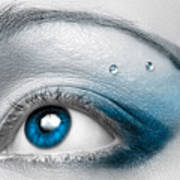 Blue Female Eye Macro With Artistic Make-up Art Print