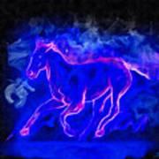 Blue Fire Horse - Da Art Print
