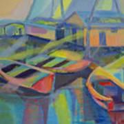 Blue Fishing Village Art Print