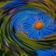Blue Flower Whirlpool Art Print