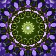 Blue Flowers Kaleidoscope Art Print
