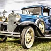 Blue Ford Model A Car Art Print
