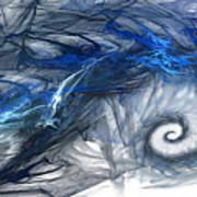 Blue Fractal Storm Art Print