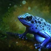 Blue Frog Art Print by Caroline Jamhour