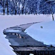 Blue Frozen River Art Print