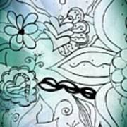 Blue Funky Flower Doodles Art Print