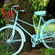 Blue Garden Bicycle Art Print