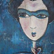 Blue Geisha Love Detail Art Print