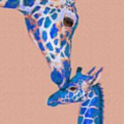 Blue Giraffes 2 Art Print