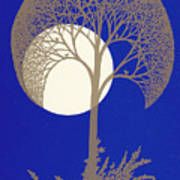 Blue Gold Moon Art Print