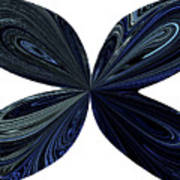 Blue, Green And Black Butterfly Astract Art Print
