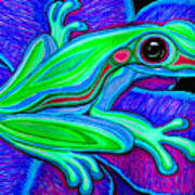 Blue Green Frog Art Print