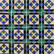 Blue Green Lisbon Tiles Souvenirs Art Print