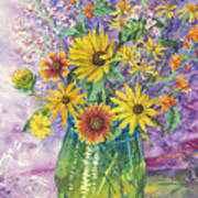 Blue-green Vase Of Wildflowers Art Print