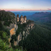 Blue Haze At Sunrise At Ecco Point In Blue Mountains Art Print