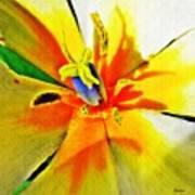 Blue Heart Of The Tulip Art Print