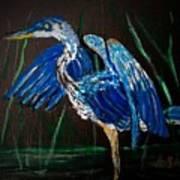 Blue Heron At Night Art Print