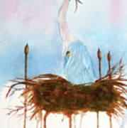 Blue Heron Nesting Art Print