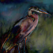Blue Heron Painting II Print by Don  Wright