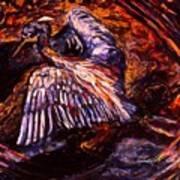Blue Heron Swirl Art Print