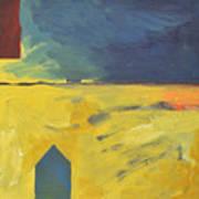 Blue House Gold Field Art Print