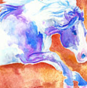 Blue Jumping Paint Art Print