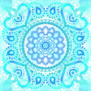 Blue Lotus Mandala Art Print
