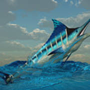 Blue Marlin Burst Art Print