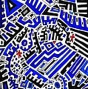Blue Maze Art Print