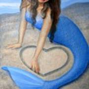 Blue Mermaid's Heart Art Print by Sue Halstenberg